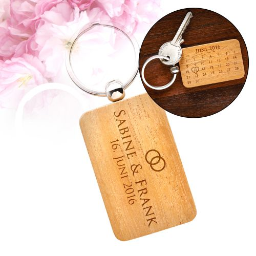 Schlüsselanhänger Kalender mit Gravur - Hochzeit