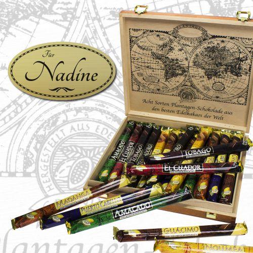 Schokolade in edler Holzbox - mit Gravur