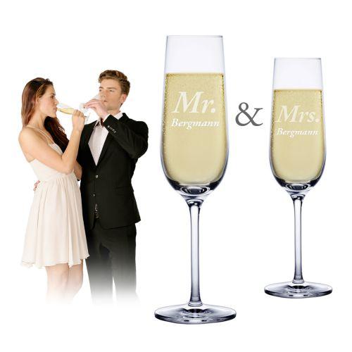 Sektgläser Mr and Mrs