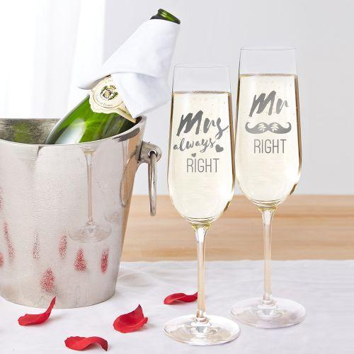 Sektgläser Mr and Mrs Right