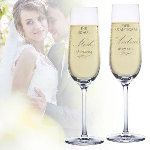 Sektgläser zur Hochzeit Braut und Bräutigam