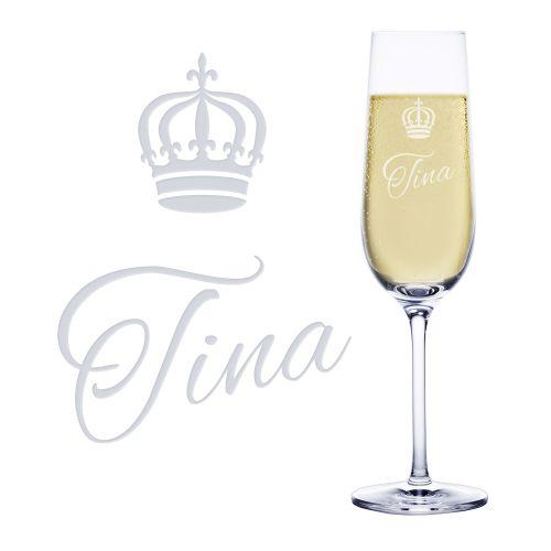 Sektglas mit Gravur - Königin Krone