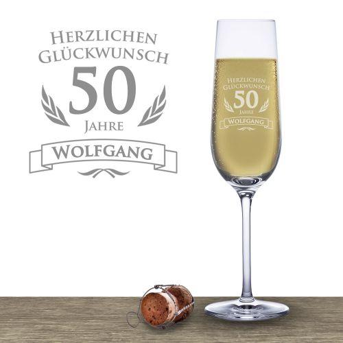 Sektglas zum 50. Geburtstag