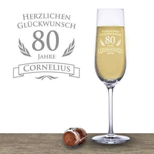 Sektglas zum 80. Geburtstag