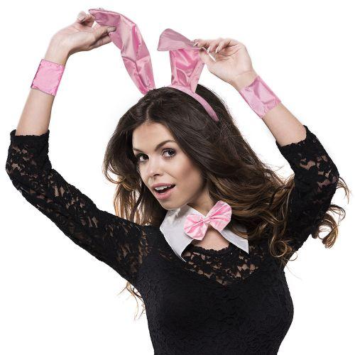 Sexy Bunny Kostüm - Hasenohren Set Pink