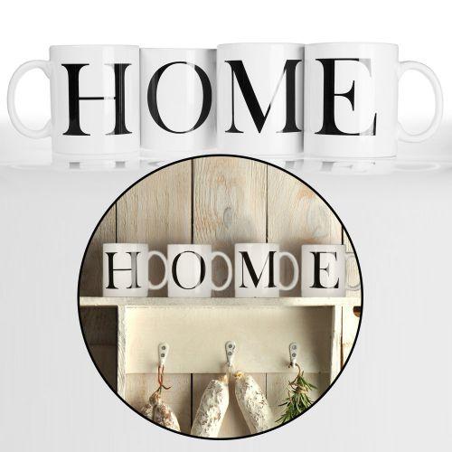 Tasse Buchstaben Home