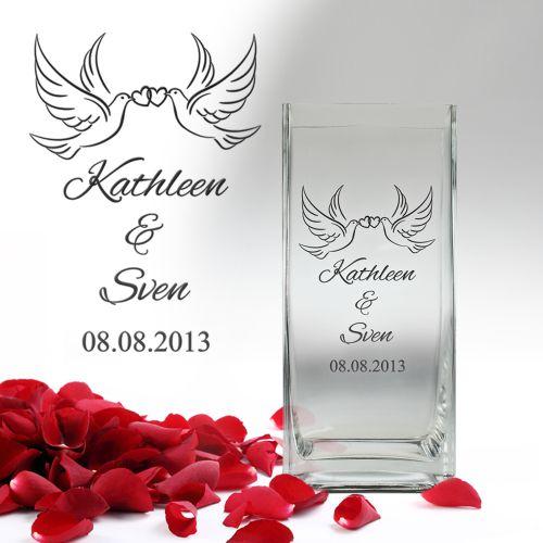 Vase Liebestauben personalisiert