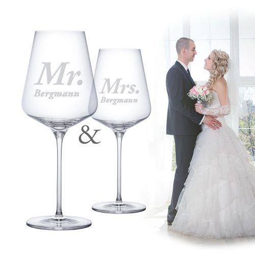 Weingläser - Mr and Mrs
