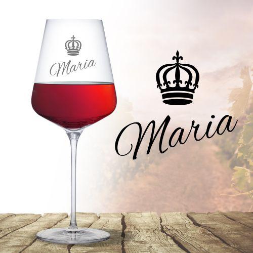 Weinglas mit Gravur Königin Krone