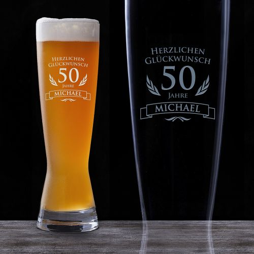 weizenglas zum 50 geburtstag personalisiert bierglas. Black Bedroom Furniture Sets. Home Design Ideas