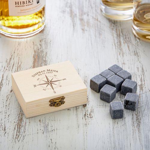 Whisky Steine in Holzkiste mit Gravur Kompass