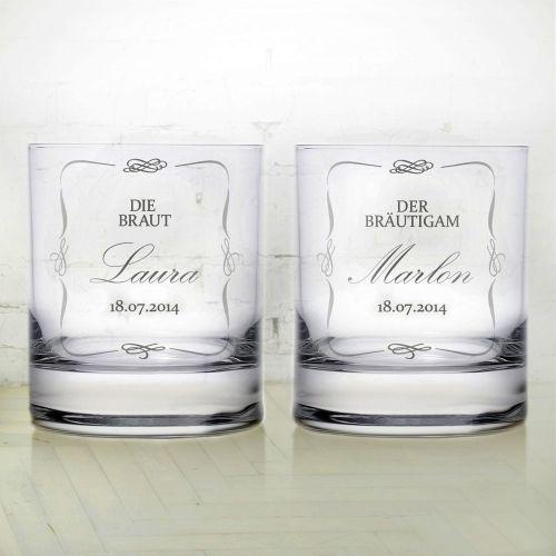 whiskygl ser zur hochzeit brautpaar pers nliche 2er set. Black Bedroom Furniture Sets. Home Design Ideas