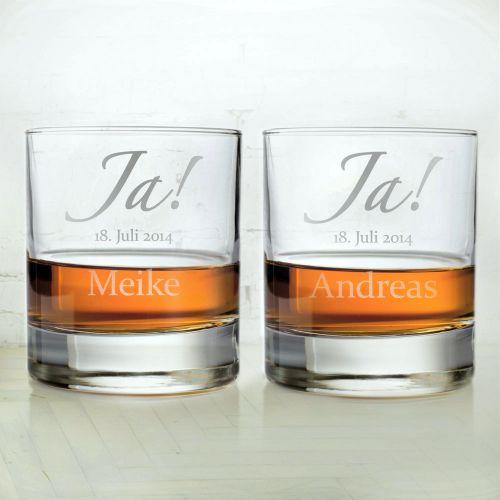 Whiskygläser zur Hochzeit - Jawort Gravur