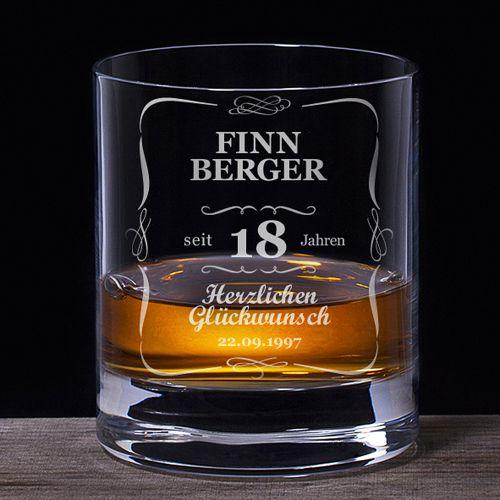 Whiskyglas 18. Geburtstag klassisch