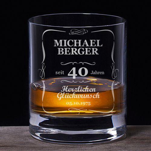 Whiskyglas 40. Geburtstag klassisch