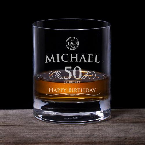 Whiskyglas 50. Geburtstag elegant