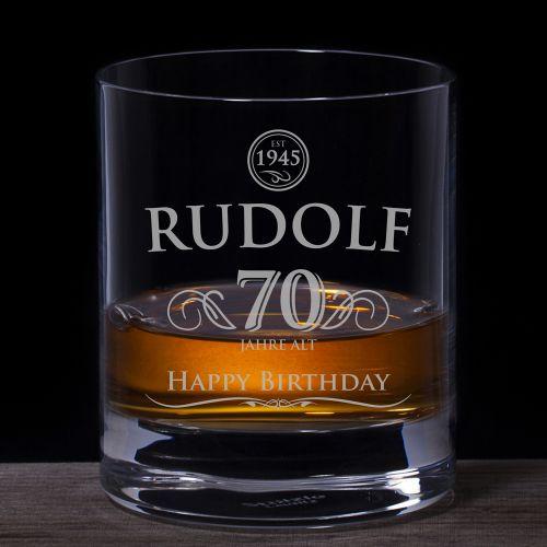 Whiskyglas 70. Geburtstag elegant