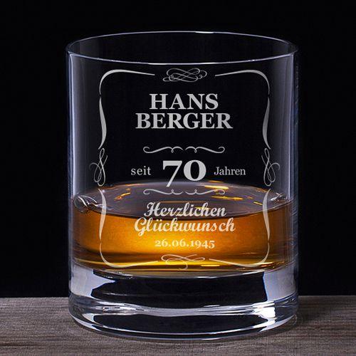 Whiskyglas 70. Geburtstag klassisch
