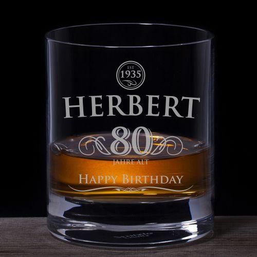 Whiskyglas 80. Geburtstag - elegant
