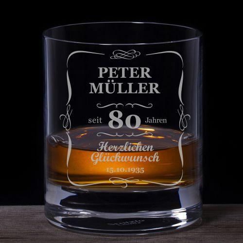 Whiskyglas 80. Geburtstag klassisch