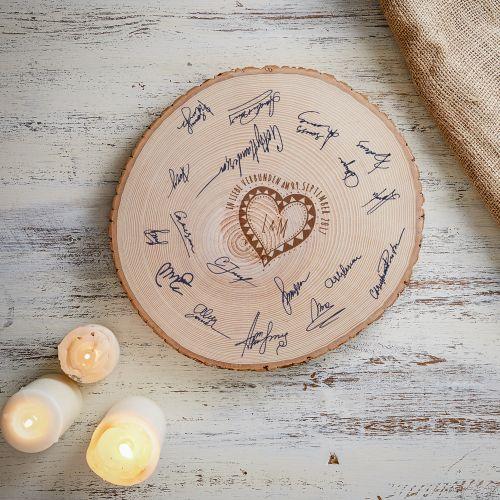 XXL Baumscheibe mit Gravur - originelles Gästebuch zur Hochzeit