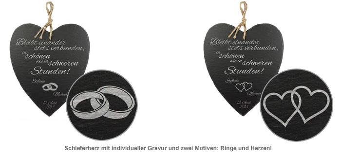 Schieferherz zur Hochzeit - personalisiert - 2