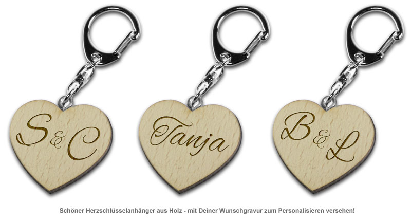 Schlüsselanhänger Holzherz - personalisiert - 2