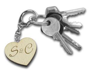 Schlüsselanhänger Holzherz - personalisiert - 3
