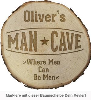Baumscheibe mit Gravur - Man Cave - 2
