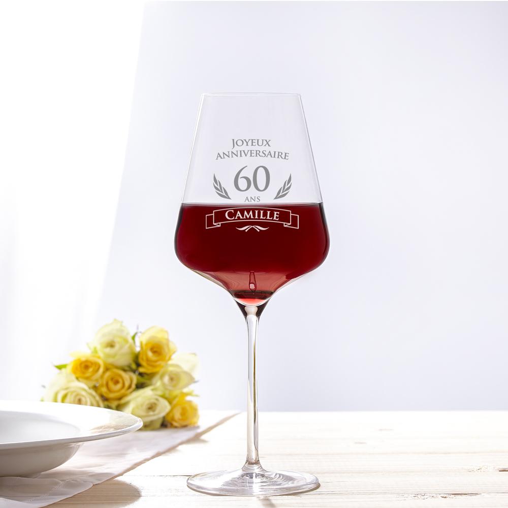 Verre à Vin Pour Le 60e Anniversaire