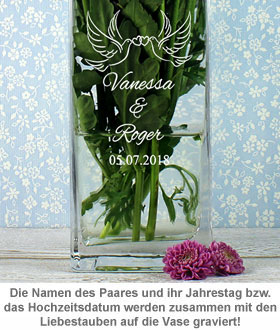 Vase Liebestauben - personalisiert - 2