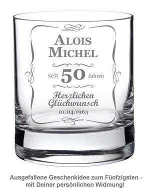 Whiskyglas 50. Geburtstag - klassisch - 2