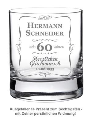 Whiskyglas 60. Geburtstag - klassisch - 2