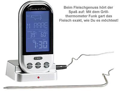 grillthermometer funk misst garstufe f r das perfekte fleisch. Black Bedroom Furniture Sets. Home Design Ideas