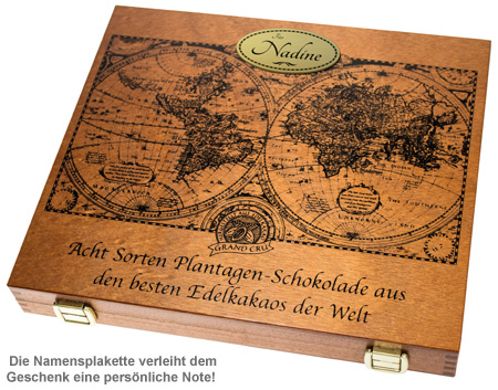 Schokolade in edler Holzbox - mit Gravur - 2