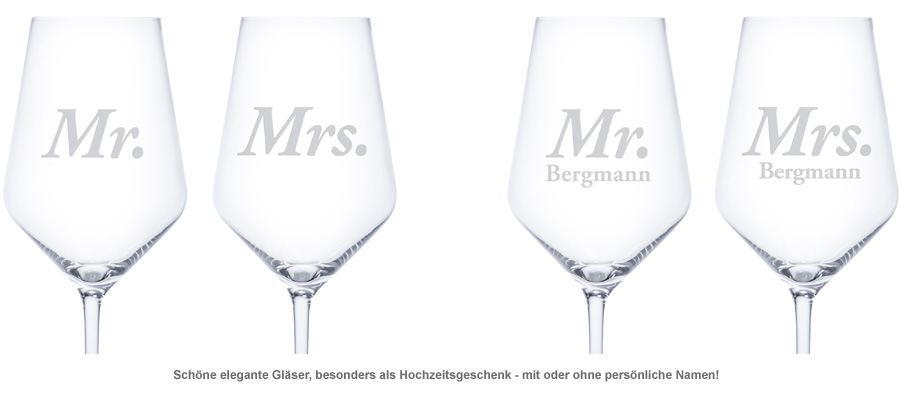 Weißweingläser - Mr und Mrs - 2