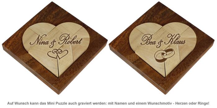 Mini Holz Puzzle - Herz zur Hochzeit - 3