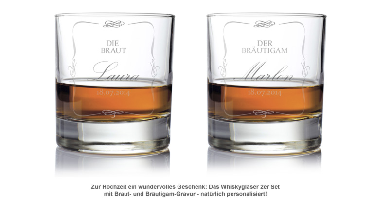 Whiskygläser zur Hochzeit - Brautpaar - 2