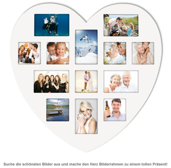 Herz Bilderrahmen Collage Weisser Holz Bilderrahmen In Herzform