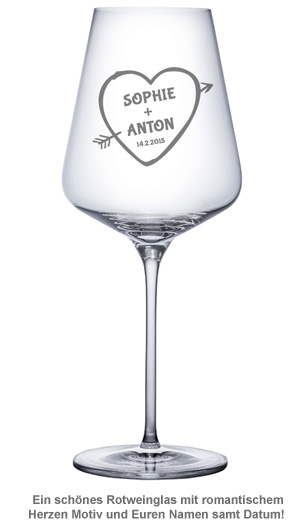 Weinglas mit Gravur - Amors Pfeil - 2