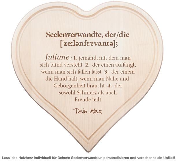 Graviertes Holzherz - Definition Seelenverwandte - 2