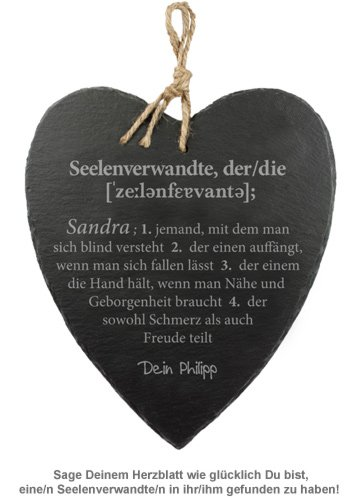 Schieferherz mit Gravur - Definition Seelenverwandte - 2