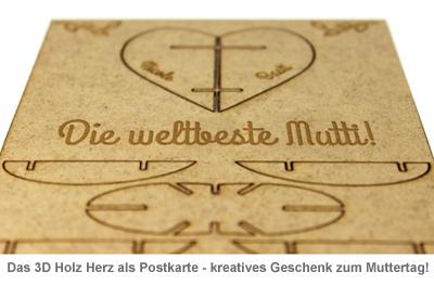 Postkarte 3D Herz aus Holz zum Muttertag - 2
