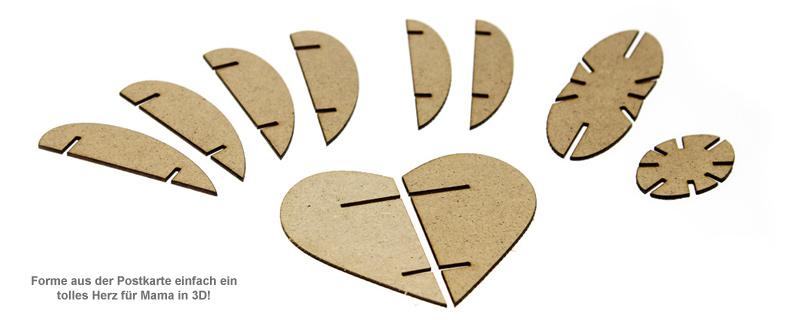 Postkarte 3D Herz aus Holz zum Muttertag - 3