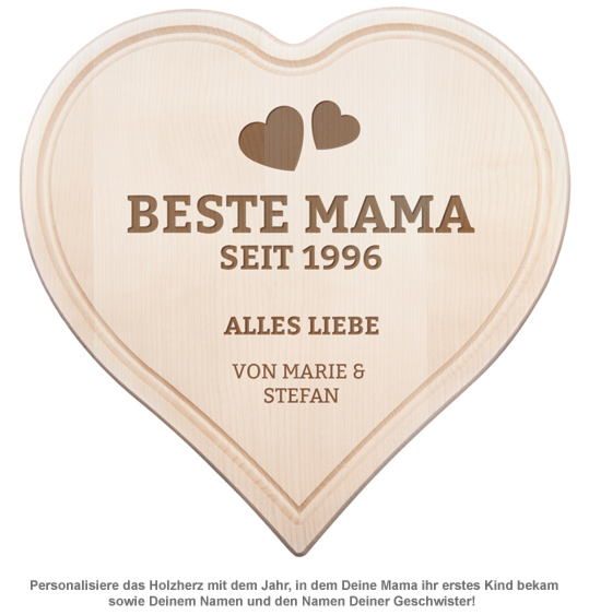 Graviertes Holzherz - Beste Mama von Herzen - 2