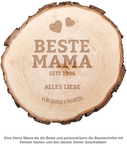 Baumscheibe mit Gravur - Beste Mama von Herzen - 2