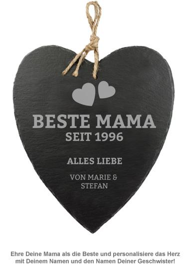 Schieferherz mit Gravur - Beste Mama von Herzen - 2