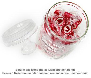Bonbonglas mit Gravur - Liebesbotschaft - 3