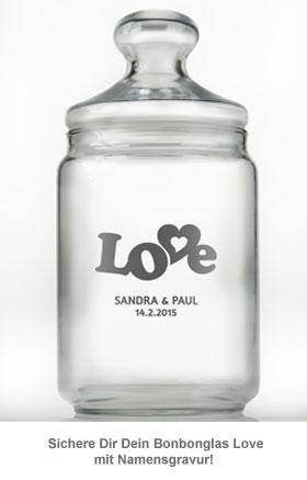 Bonbonglas mit Gravur - Love - 2