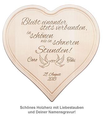Holzherz zur Hochzeit - mit Liebestauben und Treuespruch - 2